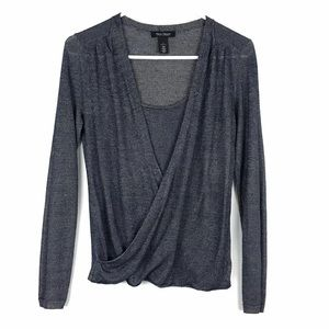 White House Black Market Shimmer Thin Sweater Top